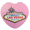 Bright Colorful Las Vegas Welcome Sign on a Pink Background Heart Shaped Las Vegas Compact Mirror.