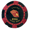 Round Poker Chip Shape Decorative Pillow in Rich Burgundy and Black, designed to replicate a $100 poker chip, second side has an embroidered poker hand in cards.