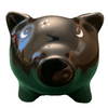 3-D pig shape face of piggy bank,  this is the front view of his snout and ears.