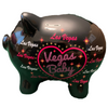 3-D pig shape Pink and White Glittery Vegas Baby Design on a Black Background, this is the side view.