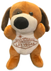 Front View of brown plush Las Vegas Doggie with welcome sign embroidered on its tummy.