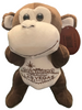 Front View of brown plush Las Vegas Monkey  with welcome sign embroidered on its tummy.