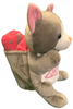 Side View of gray plush Las Vegas Mouse with Pink Child Blanket in Pouch.