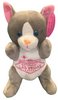Front View of gray plush Las Vegas Mouse with welcome sign embroidered on its tummy.