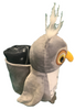 Side View of gray plush Las Vegas Owl with Black Child Blanket in Pouch.