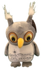 Front View of gray plush Las Vegas Owl with welcome sign embroidered on its tummy.