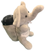 Side View of gray plush Las Vegas Elephant with Black Child Blanket in Pouch.