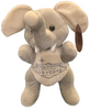 Front View of gray plush Las Vegas Elephant with welcome sign embroidered on its tummy.