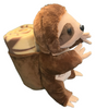 Side View of brown plush Las Vegas Sloth with Tan Child Blanket in Pouch.
