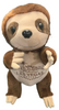 Front View of brown plush Las Vegas Sloth with welcome sign embroidered on its tummy.