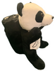 Side View of black and white plush Las Vegas Panda with Hot Pink Child Blanket in Pouch.