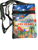 US Flag background smaller disco purse with a Las Vegas City Icons and Casinos with our American Flag proudly first and foremost.