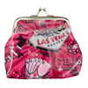 Metal snap closure on this pink plastic Las Vegas Coin purse with our Girl's Night Out design showcasing the a fun girly feel to it.