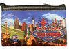 Colorful cloth coin purse, NEON strip design showcases the Las Vegas Strip and a Welcome To Las Vegas Sign in bright neon coloring.