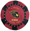 Round Poker Chip Shape Decorative Pillow in Rich Burgundy and Black, designed to replicate a $10,000 poker chip, second side has an embroidered poker hand in cards.