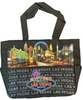 """Black Totebag with Neon Las Vegas Sign, small """"Las Vegas"""" font all over and a very pretty scene of the Las Vegas Strip."""