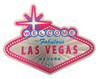 Second side view of the Welcome to Las Vegas Sign shaped magnet with Pink Background.
