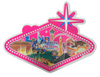 One side view of the Sign Shape city scene magnet with a Pink Background.