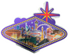 One side view of the Sign Shape city scene magnet with a Purple Background.