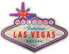 Second side view of the Welcome to Las Vegas Sign shaped magnet with Purple Background.