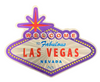 Front side view of the Welcome to Las Vegas Sign shaped magnet with Purple Background.
