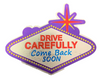 Back side view of the Welcome to Las Vegas Sign shaped magnet with Purple Background.