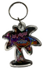 Palm Tree Shape Acrylic Key Ring with a vibrant colored Neon Fireworks Las Vegas Design