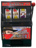 Black Plastic working Slot Machine Replica. One Armed Bandit graphics and design on this fun, functioning item.