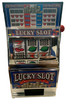 Black and Shiny Silver Plastic working Slot Machine Replica. LUCKY Slot graphics and design on this fun, functioning item.