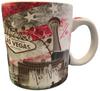 Oversized Las Vegas ceramic coffee mug with Muted Red, Blue, and Gray Americana Patriotic Las Vegas design.
