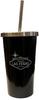 Las Vegas Black Stainless Steel Tumbler with metal straw and Las Vegas Sign design.