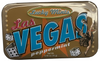 """Tin rectangle slide open box of  peppermints. Design on Tin is gold background with """"Las Vegas""""."""