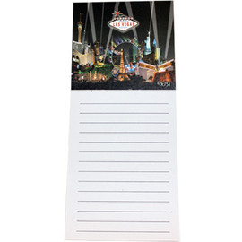Las Vegas Magnetic Notepad Black Spotlights picture on top and paper below.