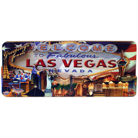 Rectangle Wood Cut Out Las Vegas Magnet with US Flag on the background behind the city scape.
