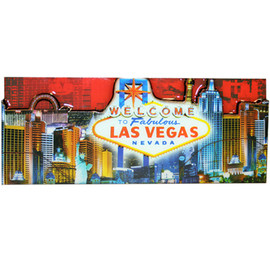 Las Vegas Magnet- Red Skyline colorful rectangle magnet with Las Vegas Casinos and Sign