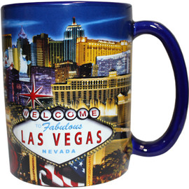 Oversized Las Vegas ceramic coffee mug with a Las Vegas Sign and Blue Strip collage design embossed with a vibrant strip background, side view.