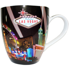 Oversized Las Vegas Souvenir Ceramic mug with a Spotlights design and the Las Vegas Sign.