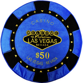 Round Poker Chip Shape Decorative Pillow in Royal Blue and White, designed to replicate a real $50 poker chip.