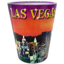 Glass Las Vegas shotglass with a full body colorful sunset wrap background.