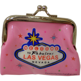 Metal snap closure on this pink plastic Las Vegas Coin purse with colorful stars and a large Welcome to Las Vegas Sign in the middle.