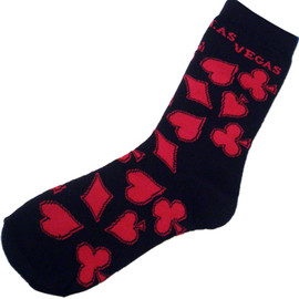 Black Socks with Red Card Suits and Red Las Vegas on them-adult socks.