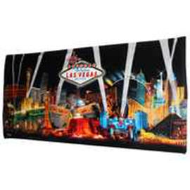 Iconic Las Vegas Casinos with a Black Spotlights background design on this Large size beach towel.