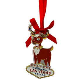 Metal Las Vegas Reindeer Shape ornament that also has the Las Vegas Welcome Sign; with a Red Ribbon.