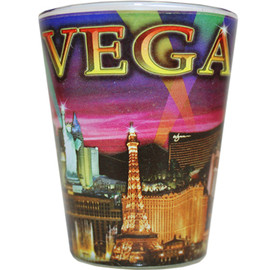 Glass Las Vegas shotglass with a full body purple skyline wrap background.