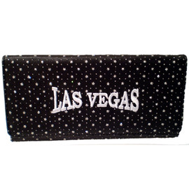 Black Wallet with shiny specks all over it and a large White embroidered Las Vegas on the front.