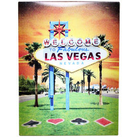 Las Vegas Holographic Magnet Las Vegas Sign Orange Hue Sunset and Card Suites on Hill