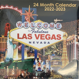 2022-2023 Las Vegas Calendar 24 months total with colorful Las Vegas City scenes for each month.