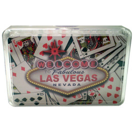 "New Playing Cards in a Clear Box for Storage. This deck features our ""Cards"" design which shows Vegas the Las Vegas Sign Icon over random playing cards laid out."