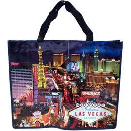 Dark Blue Hues background tote bag shows the natural beautiful night skyline over Las Vegas Casinos in bright colors.