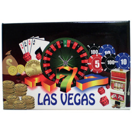 Rectangle shape magnet with Las Vegas in Blue at the bottom and slot, roulette wheel, cards, coins, and poker chips on it.